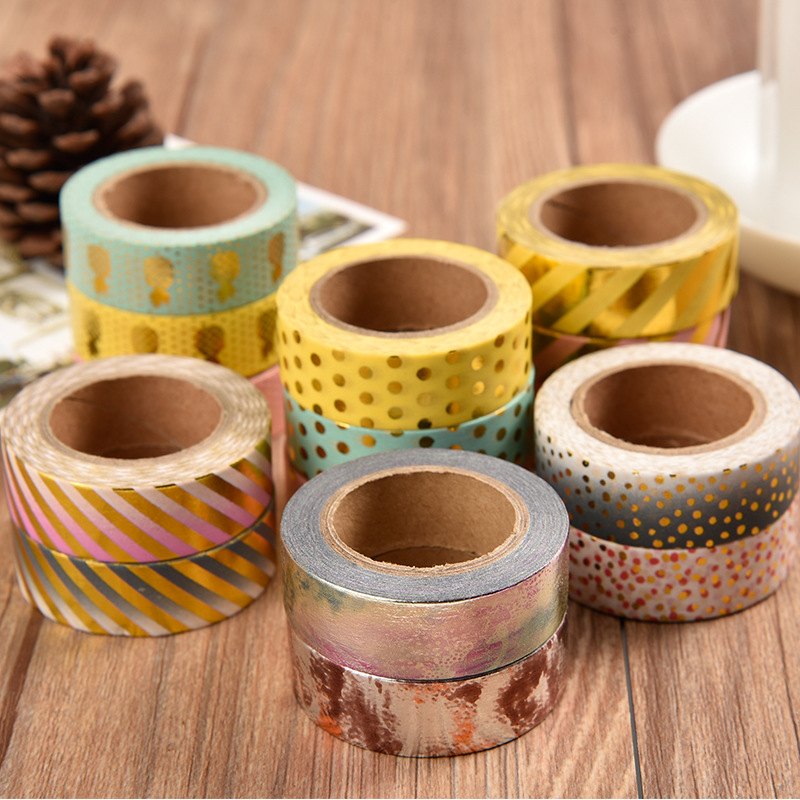 15 Mm*10m Kawaii Scrapbooking Tools DIY Stripes,Gold Pineapple & Dots Japanese Paper Foil Washi Tapes Masking Tape