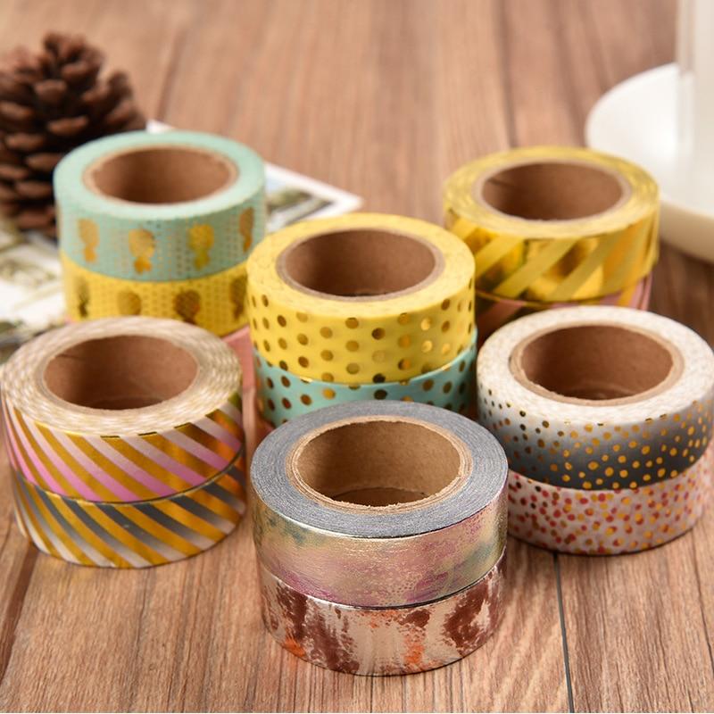15 Mm*10m Kawaii Scrapbooking Tools DIY Stripes,Gold Pineapple & Dots Japanese Paper Foil Washi Tapes Masking Tape