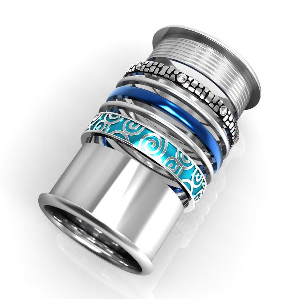 Anéis de aço inoxidável floya para as mulheres intercambiáveis rotatable grande anel de casamento banda aneis feminino anillos mujer camadas anel
