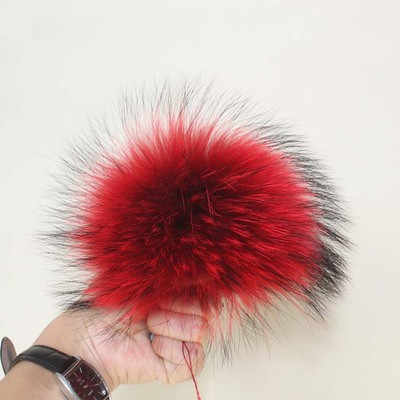 15cm Piel de mapache Real Pom pompón grande de piel de zorro para sombrero bolso bufanda Guantes negro blanco azul marino rojo rosa púrpura gris café azul