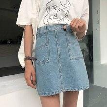 968ee942c074 2019 Summer Women High Waist Denim Skirts With Pockets High Street A-Line  Mini Skirt