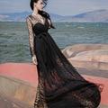 Fashion Women's Polka Dots Maxi Long Casual Summer Beach Party Mesh Dress V Neck Long Sleeve High Slit Floor Length Lady Dress