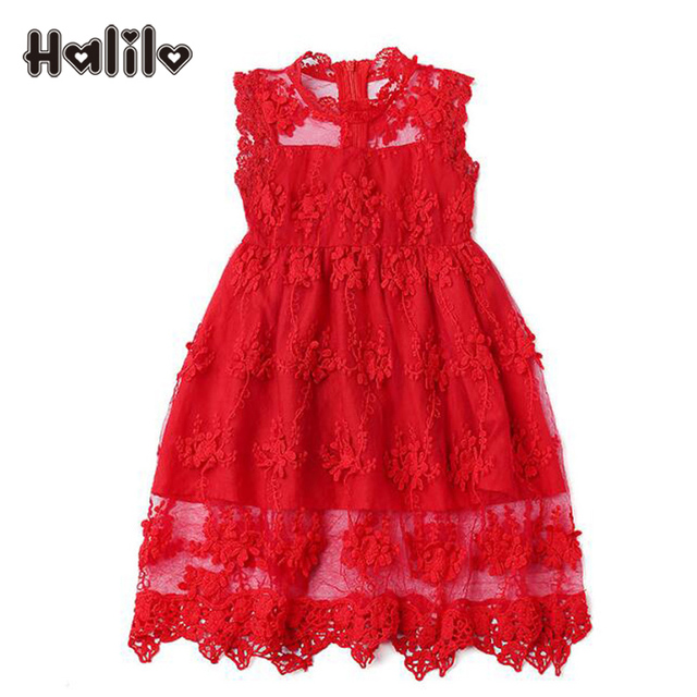 fashion toddler girls christmas dress sleeveless red pink girls lace dress hollow retro girl party dresses - Girl Christmas Dresses