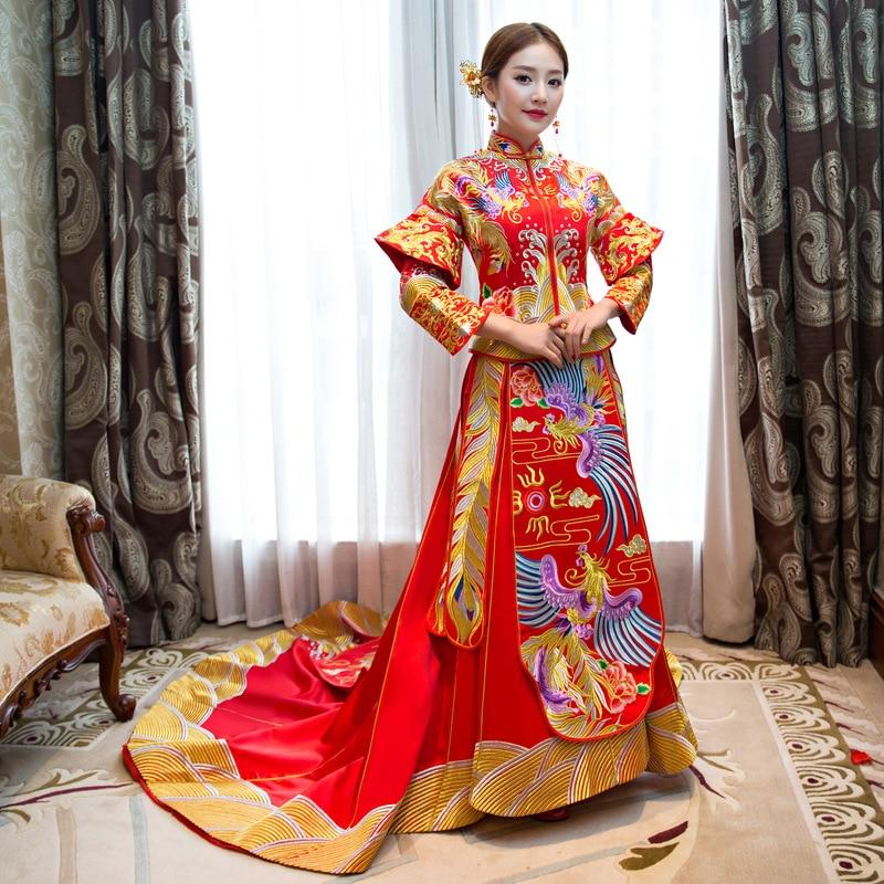 Ancient Classic Floor Length Vestidos Chinese Bride Red Long Embroidery Phoenix Qipao Ancient Women Wedding Dress S M L XL XXL