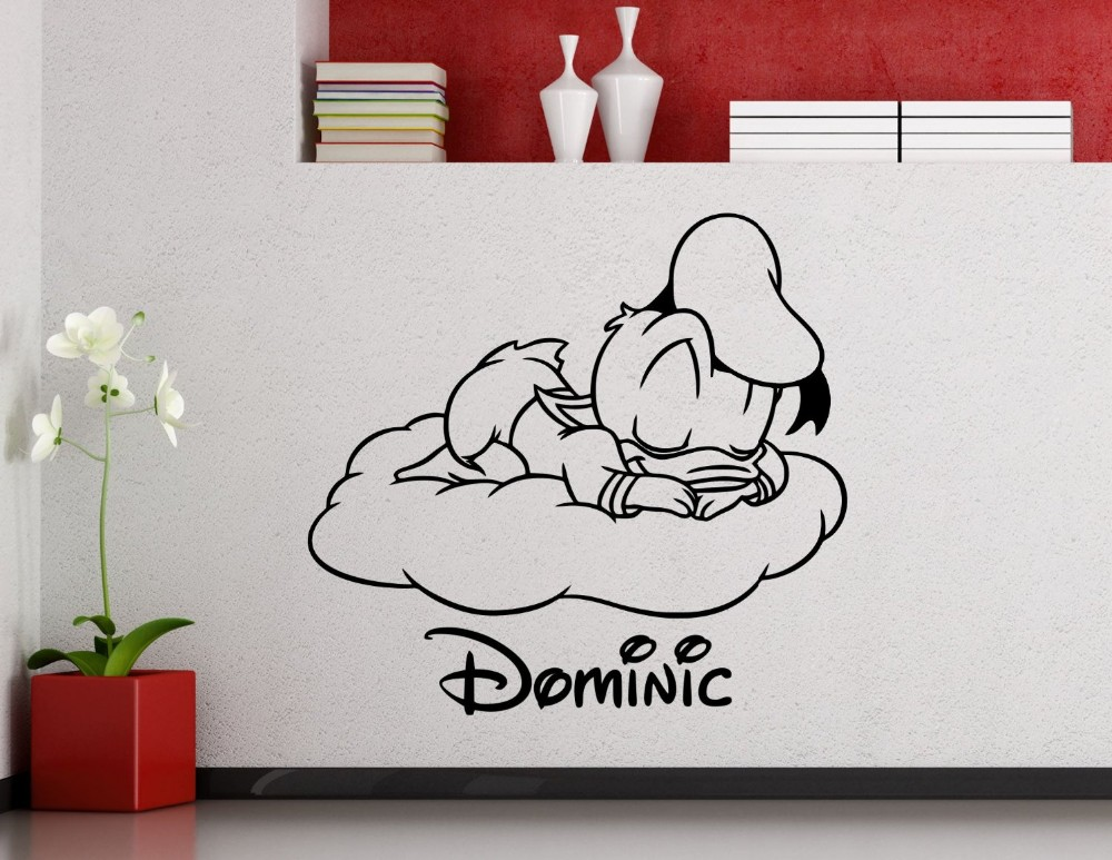 Personalized Donald Duck Wall Decal Nursery Custom Baby Name Cartoon Wall Sticker Home Decor Kids Girl Boy Room Wall Decal