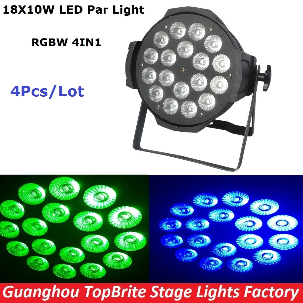 4Pcs/Lot Free Shipping 18*10W 4IN1 Led Par Light Cheap Price RGBW Led Par Cans DMX512 8CH LED Par Stage Wash Dj Disco Lights free shipping 4pcs lot stage light 20w led water wave light