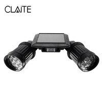 CLAITE Outdoor LED Solar Lights Waterproof 14LEDs Dual Head PIR Motion Sensor Spotlight Adjustable Garden Street Wall Light
