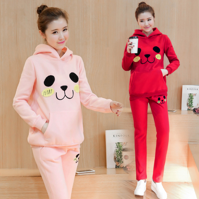 Cotton Spring Autumn Maternity Clothes for Pregnant Women Coat Maternity Sweater + Pants Sets Cartoon Sportswear Red Pink C036 ny collection women s cotton striped cuffed sweater pink 2x