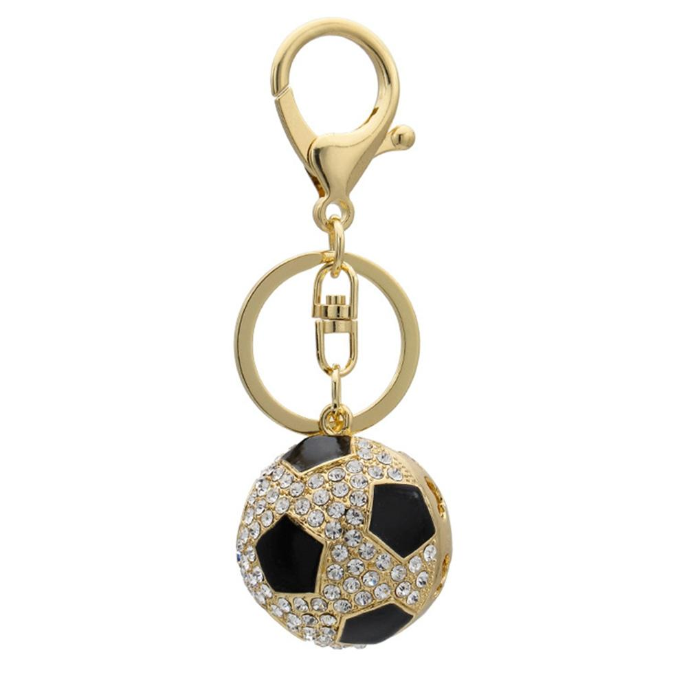 DreamBell Fashion Creative Sports Keychain Hanging Accessary Football Shape with Rhinestone Key Ring