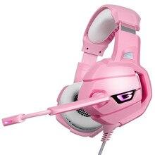 лучшая цена ONIKUMA K5 LED Gaming Headphones Headset With Mic Microphone For PS4 PC Pink warrior Gamer