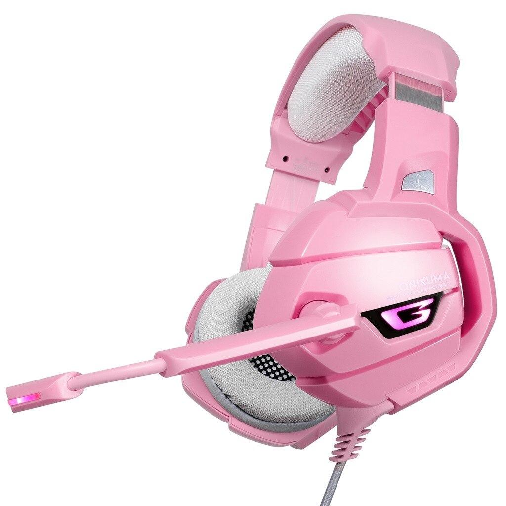 ONIKUMA K5 LED casque de jeu casque avec micro Microphone pour PS4 PC rose guerrier Gamer