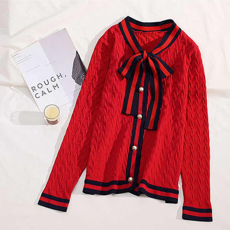 2020 di Lusso Del Progettista di Marca Autunno Inverno Lavorato a Maglia Cardigan Delle Donne di Arco di Torsione Perla Maglione Della Banda Nero Bianco Rosso Maglione Abbigliamento