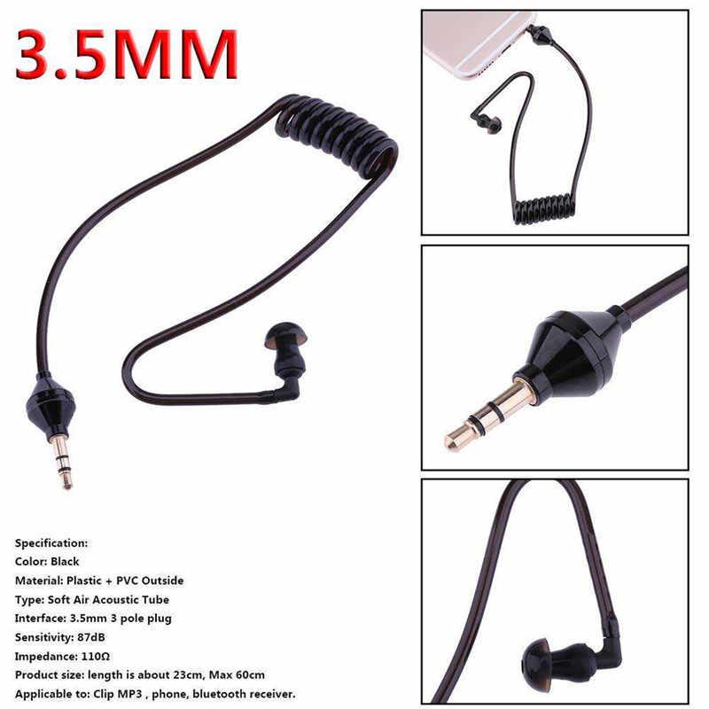 3.5mm Monaural Earphones Air Tube Anti-radiation Clamp collar Earphone Stereo In-Ear Earbuds