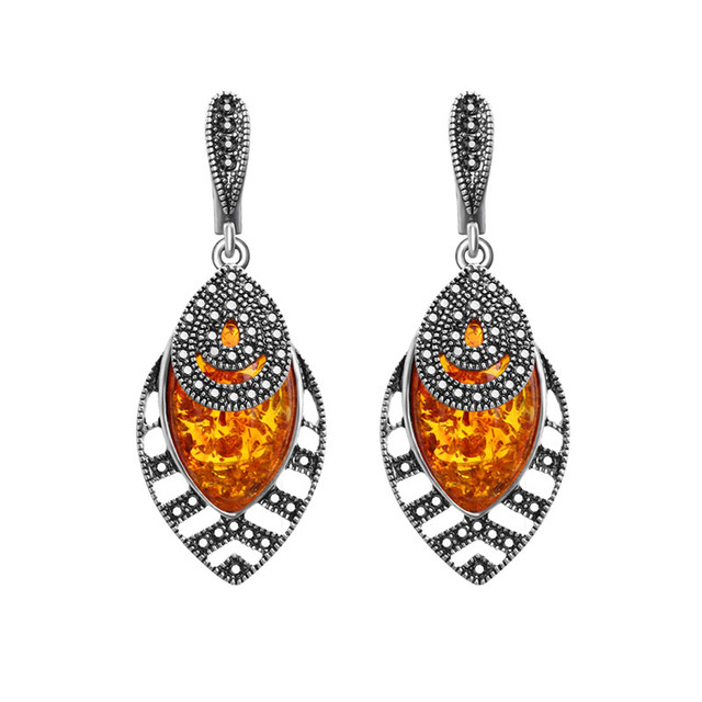 Sellsets Vintage Antique Silver Color Accessories Earring Orange Resin Leaf  shape Dangle Earrings For Women Party c0bff7c8a903