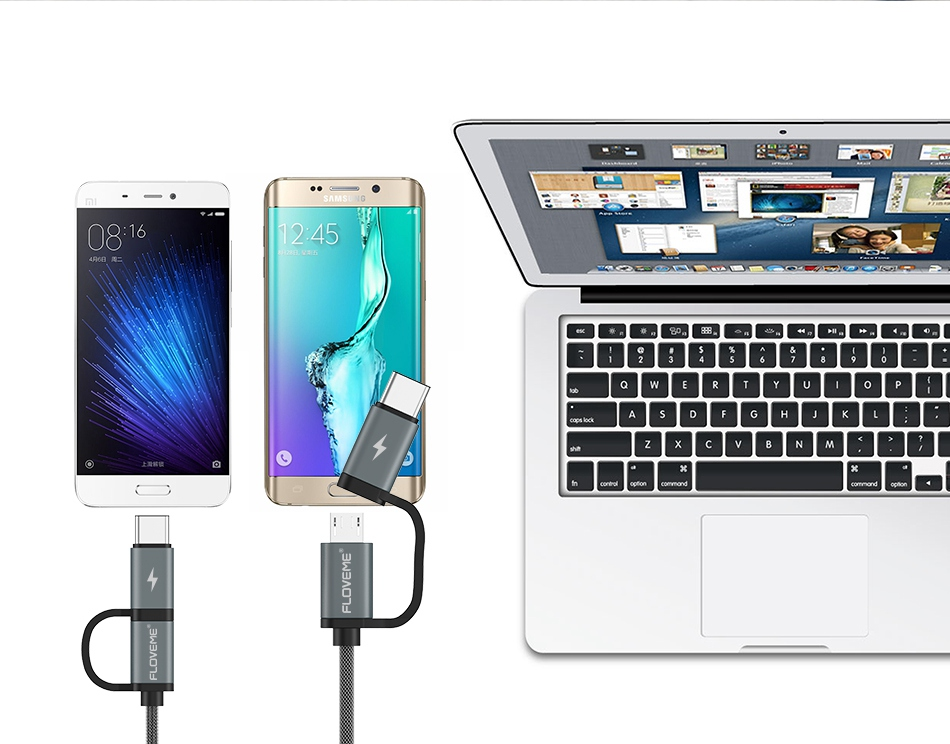 USB Cable QC 3.0 5V 2.8A Fast Charger Micro USB Type C 2 in 1 Cables (8)