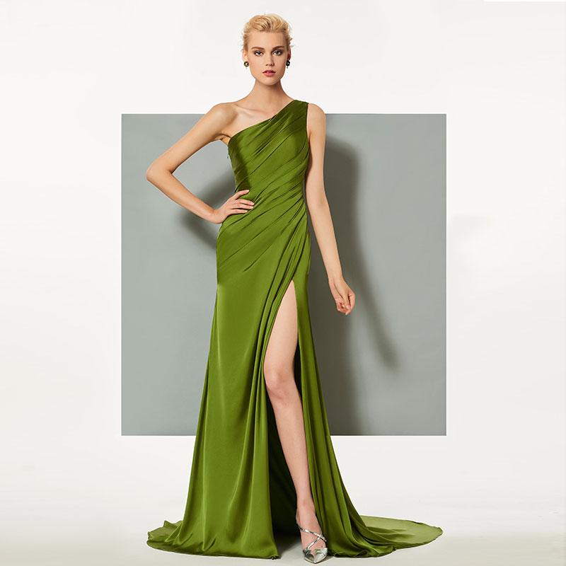 Tanpell one shoulder evening dress pleats sleeveless split front sweep train women prom custom formal mermaid