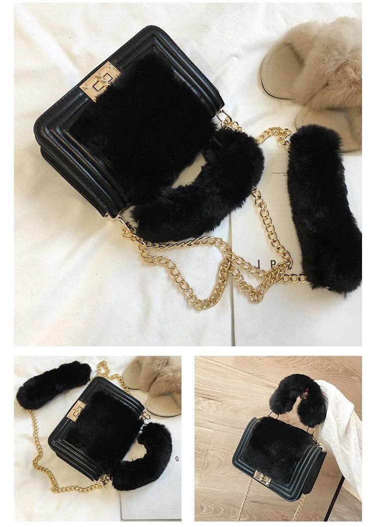 ... MJ Women Winter Faux Fur Shoulder Bag Fashion Chain Messenger Bag  Female Handbag Party Small Girls ... c0da7c6d4b8ae