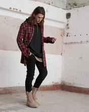 Fear Of God 2016 Spring Military Quality Men's Casual Brand Damage Red Plaid Shirts Man Autumn 100% Cotton Plaid Long Shirt