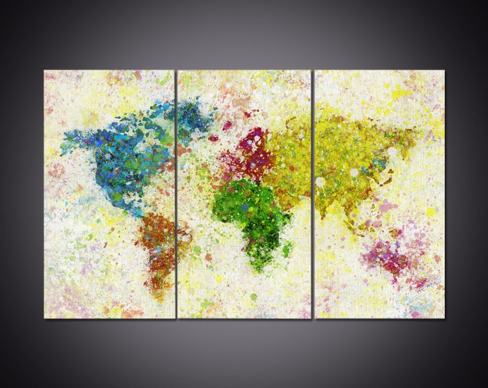 Paint splash world map multi panel canvas wall art in painting paint splash world map multi panel canvas wall art in painting calligraphy from home garden on aliexpress alibaba group gumiabroncs Images