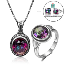 Top Brand 925 Sterling Silver Jewellery Ring Earrings Pendant Necklaces Jewelry Sets With Rainbow Topaz Stones For Women Wedding