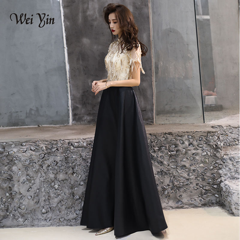 weiyin Sequins Short Sleeve   Evening     Dresses   High Neck Luxury Arabic Formal   Evening   Gowns   Dresses   WWY832
