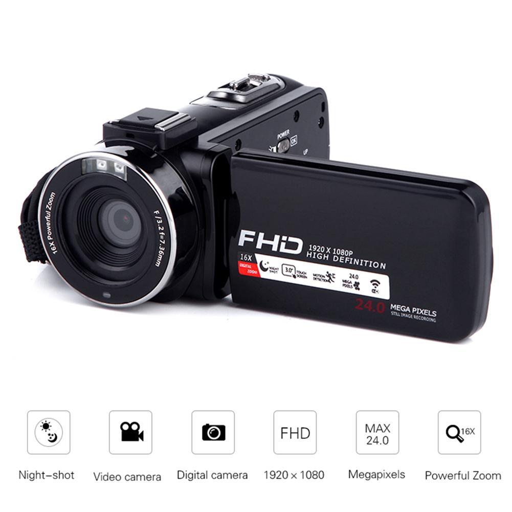 Caméscope caméra vidéo Full HD 1080 p 24.0 MP caméscopes 16X Zoom mariage maison portable DV professionnel nuit appareil photo numérique
