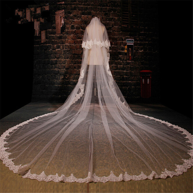 White Wedding Veil Two Layer Embroidered Long White Width 3m Long 3.5m Lace Applique Bridal Veils 2016 veu de noiva with comb