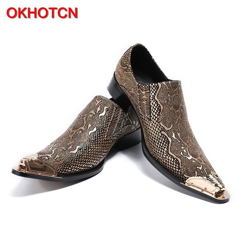OKHOTCN nouveauté offre spéciale homme chaussures formelles en cuir véritable point de métal Python texture homme d'affaires robe de soirée chaussures de mariage - 4