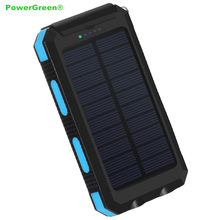 PowerGreen 5V 2A Solar Charger LED Design Solar Powerbank 10000mAh Solar Panel Cell External Battery Pack for Mobile Phones(China)