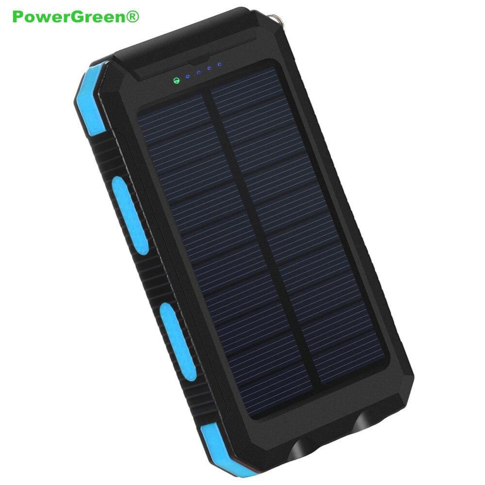 PowerGreen 5 V 2A chargeur solaire LED conception batterie de secours solaire 10000 mAh panneau solaire cellule externe batterie pour téléphones mobiles