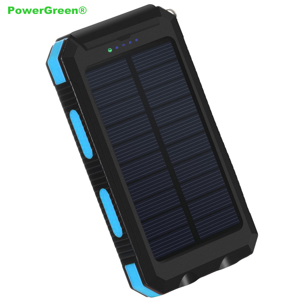 PowerGreen 5V 2A Solar Charger LED Design Solar Powerbank 10000mAh Solar Panel Cell External Battery Pack for Mobile PhonesPowerGreen 5V 2A Solar Charger LED Design Solar Powerbank 10000mAh Solar Panel Cell External Battery Pack for Mobile Phones