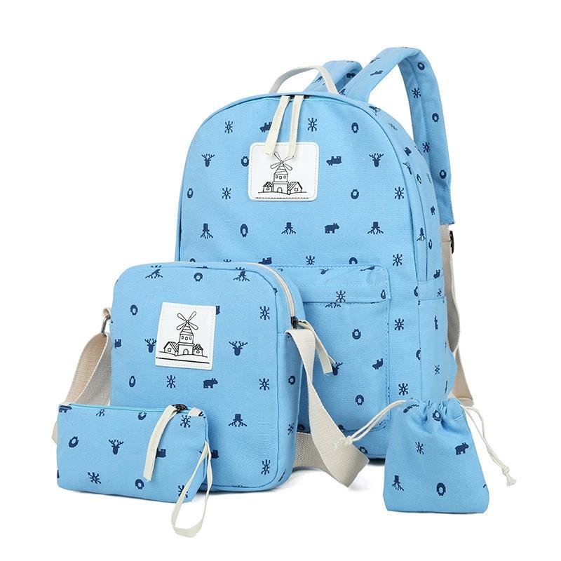 3 Pcs/Set Fashion Fresh Backpack Women School Backpack for Teenage Girls Cute Bookbags Laptop Backpacks Travel Satchel Rucksack