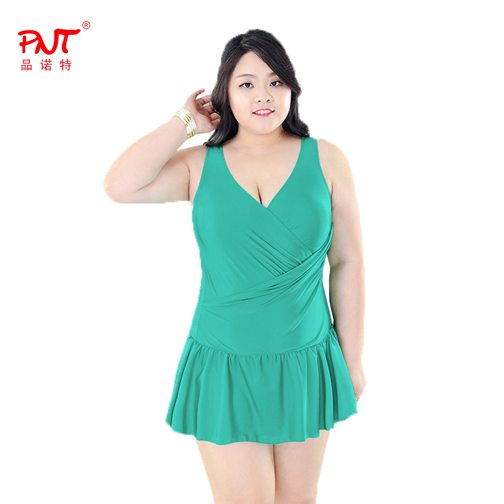 PNT135 Sexy One Piece Swimsuit Push Up Padded Skirt Beach Dress Slender Women's Swimwear Plus Size Big Skirt Hem Bathing Suit women one piece triangle swimsuit cover up sexy v neck strappy swimwear dot dress pleated skirt large size bathing suit 2017