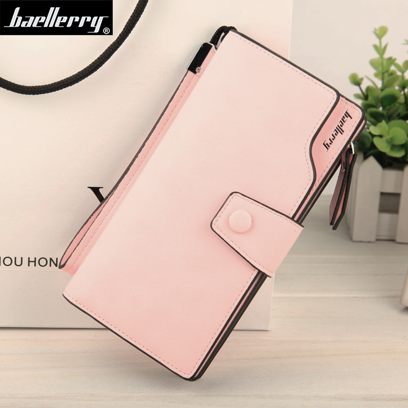 Women Wallets Leather Baellerry Purse Long Zipper Clutch Wallet Wristlet Portefeuille Carteira Feminina Monedero Solid Colors