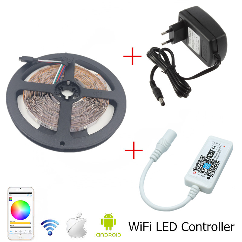 Wifi RGB LED Strip Light 5m 10m 15m SMD 3528 Ikke vandtæt Led Strip + Mini WiFi LED RGB Controller + 12V 2A 3A 5A Strømforsyning