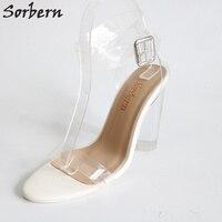 Clear Plastic Summer Sandal Women Real Photos Round Clear Heels Designer Shoes Women Size 4 15 Ladies Sandles Custom Colors
