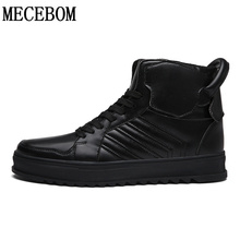 New fashion men's winter casual shoes ankle boots high-top black lace-up flat Zapatos Hombre sapato masculino size 39-45 LA635M