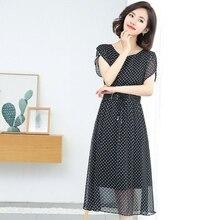 Summer new polka dot dress chiffon dresses women fashion lady dress Elastic waist Petal Sleeve maxi long dress plus size 3xl недорого