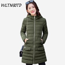 2017 winter new womene long Slim Large size  fashion Hooded warm jacket Female Solid cotton coat Parkas overdress