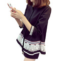 2016 autumn vintage chemise femme ethnic women blouses fashion 3/4sleeve tunic shirt women lace embroidery large size L-3XL