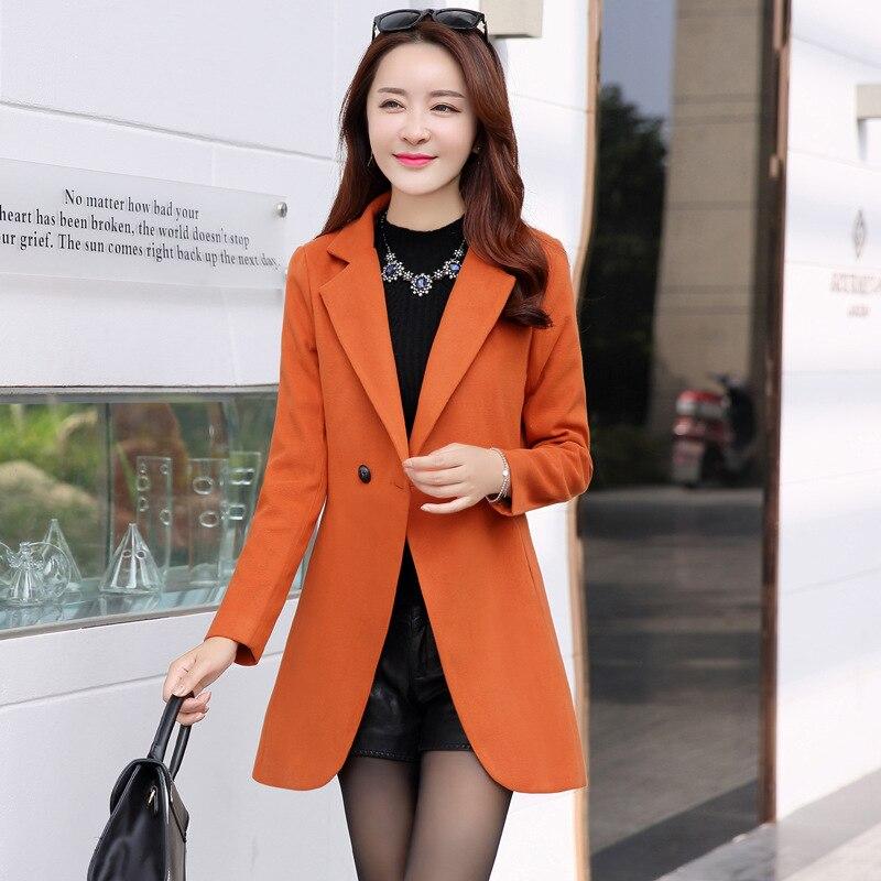 Bleu Long Mode De bourgogne Turn Mélange Laine Noir marine Veste Office Lady Seul Coréenne Manteau Bouton rouge down Dames Col Femmes 5RgZHxn