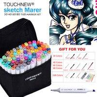 Arte Marcador TOUCHNEW 30/40/60/80 Cores Conjunto Marcador de Tinta À Base de Álcool Para Manga Dupla Com A Cabeça Descoberta esboço da arte Design Marcadores Canetas Anime