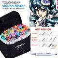 Juego de marcadores de tinta a base de Alcohol de 30/40/60/80 colores para Manga de doble cabeza arte dibujo marcadores diseño plumas Anime