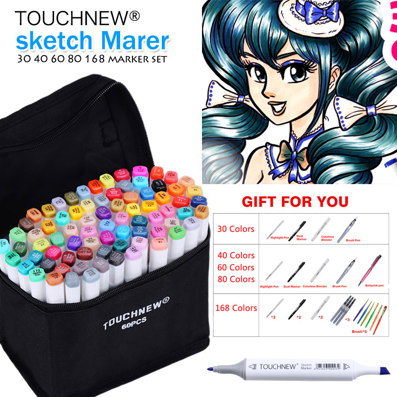 TOUCHNEW Art Marker 30/40/60/80 Colors Alcohol Based Ink Marker Set For Manga Dual Headed Art Sketch Markers Design Pens Anime touchnew 36 48 60 72 168colors dual head art markers alcohol based sketch marker pen for drawing manga design supplies