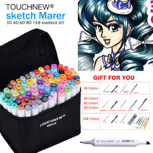 TOUCHNEW Art Marker 30/40/60/80 Colors Alcohol Based Ink Marker Set For Manga Dual Headed Art Sketch Markers Design Pens Anime