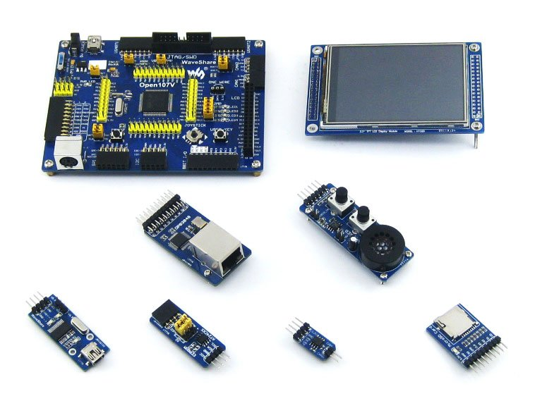 STM32 Board STM32F107VCT6 TM32F107 ARM Cortex-M3 STM32 Development Board + 6 Accessory Module Kit =Open107V Package A fireduino pc combine stem education scratch graphic program iot development board pcduino wifi module arm cortex m3 demo