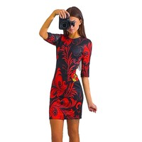 Hot Fashion Women Spring Summer Printed Dress Half Sleeve Mini Sheath Dress S M L XL