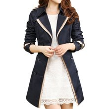 Female Slim Double Breasted 2018 Autumn Coat Long Trench Coat Long Sleeve Fashion Turn-Down Collar Clothing