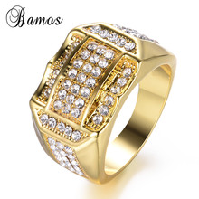 Bamos 15mm Wide Luxury Cubic Zirconia Ring Fashion Gold Colo
