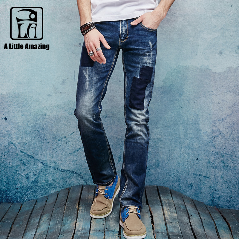 A LA MASTER 2017 Autum New Arrival Patchwork Jeans pants Destroyed Broken denim Pants Loose Full Length cowboy joggers 062204